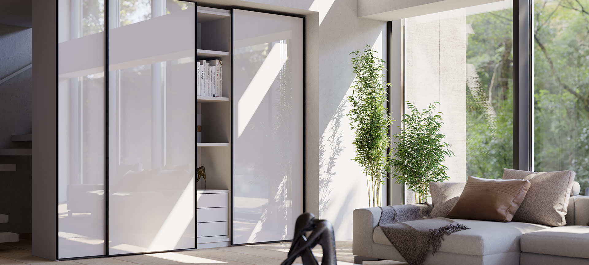 Sliding system for wardrobes with overlapping doors