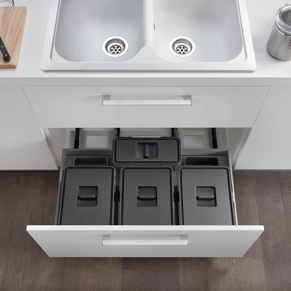 Organization and functionality: waste bin systems and pull-out units