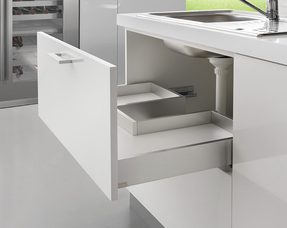 Sink waste cut-out drawer - 3-sided - H 77 mm-2