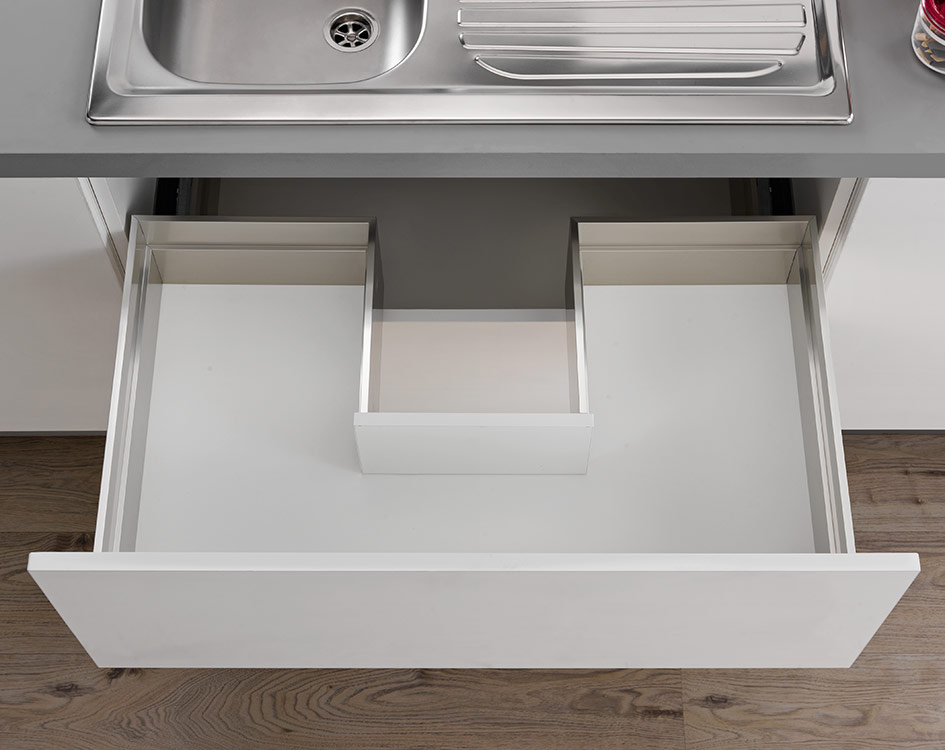 Sink waste cut-out drawer - 3-sided - H 180 mm-2